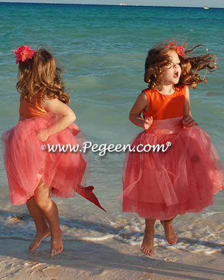 Flower girl dresses 402 in coral and orange shades of tulle and silk