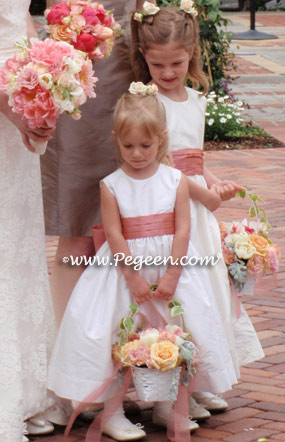 Coral rose and new ivory flower girl dresses