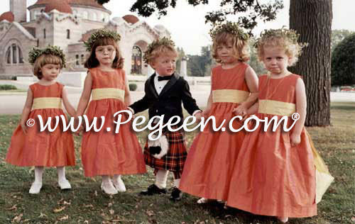 MARTHA STEWART FLOWER GIRL DRESSES IN MANGO and SUNFLOWER SILK