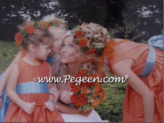 Matching  orange and adriatic aqua blue FLOWER GIRL DRESSES