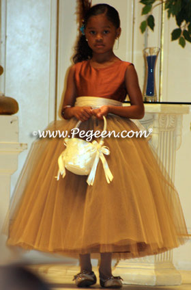 Autumn and burnt orange tulle flower girl dresses by Pegeen