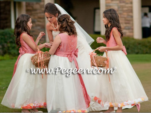 Gallery testimonials flower girl dresses pg 13 pegeen dress coral rose pink and new ivory silk and tulle petal flower girl dresses style mightylinksfo