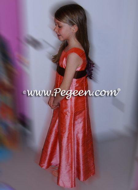 gumdrop pink and chocolate junior bridesmaids dresses