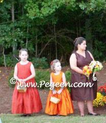 Carrot (orange) and Autumn (rust-orange) silk flower girl girl dresses - Pegeen Classic Style 318