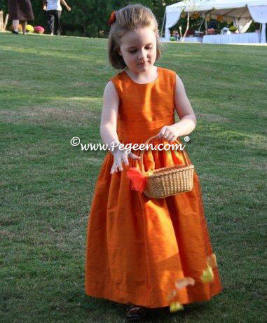 Carrot Orange And Autumn Rust Silk Flower Dresses