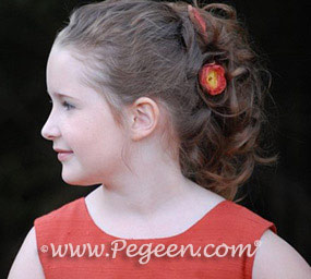 Autumn (rust-orange) silk flower girl girl dresses - Pegeen Classic Style 318