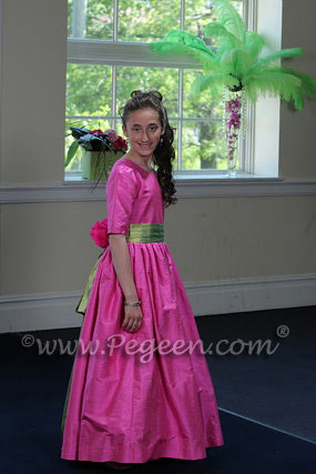 Hot Pink and Lime Green silk dress for a Bat Mitzvah