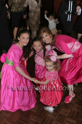 Hot Pink and Green Custom Bat Mitzvah Dress with 3/4 sleeves