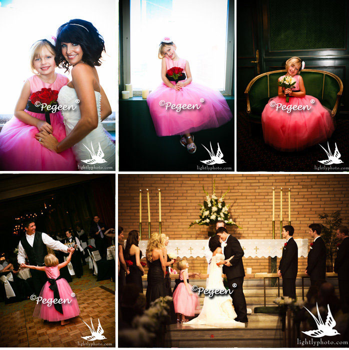 Flower girl dresses style 402 in shades of hot pink and black | Pegeen