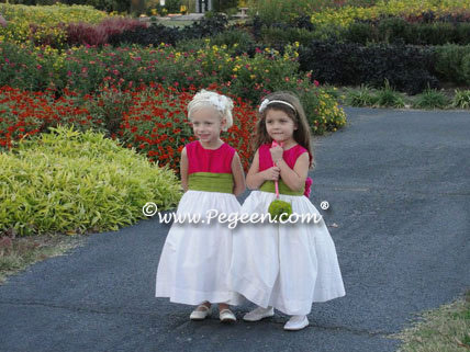 Raspberry pink and Grass green SILK FLOWER GIRL DRESSES