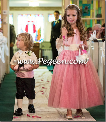 Bubble gum pink and cerise (hot pink) ring bearer suit