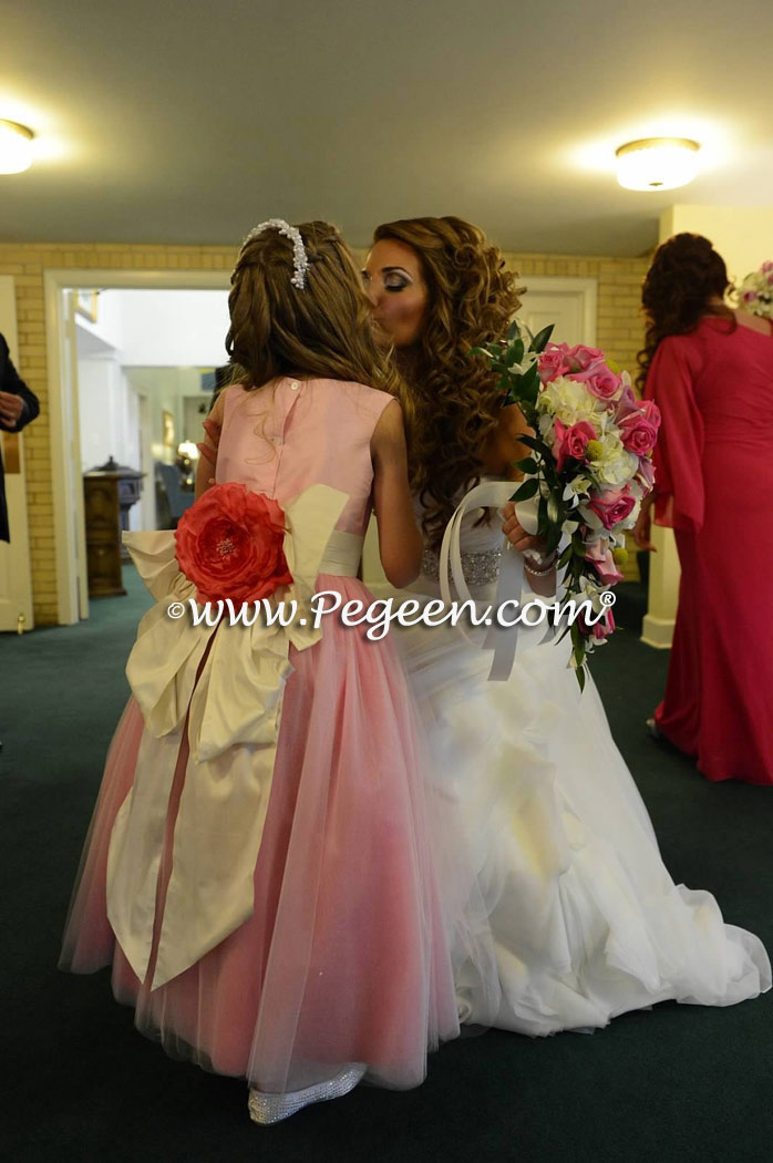 Shock Pink, Royal Purple and Key Lime Green Flower girl dresses