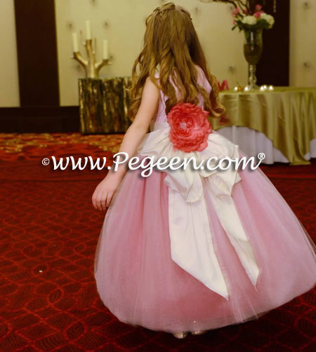 Pink and raspberry tulle flower girl dresses style 402 by Pegeen Couture
