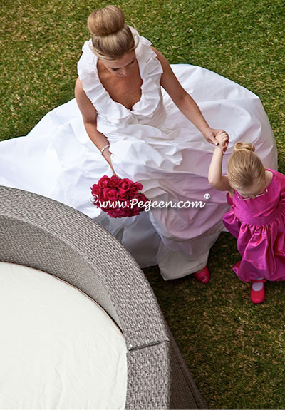 Custom Flower Girl Dresses Style 383 in Hot Pink Shock with matching Jr. Bridesmaid Style 320