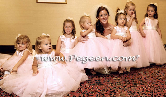 Ballet Pink and Bisque Silk Flower Girl Dresses Style 356 and ruffled sash