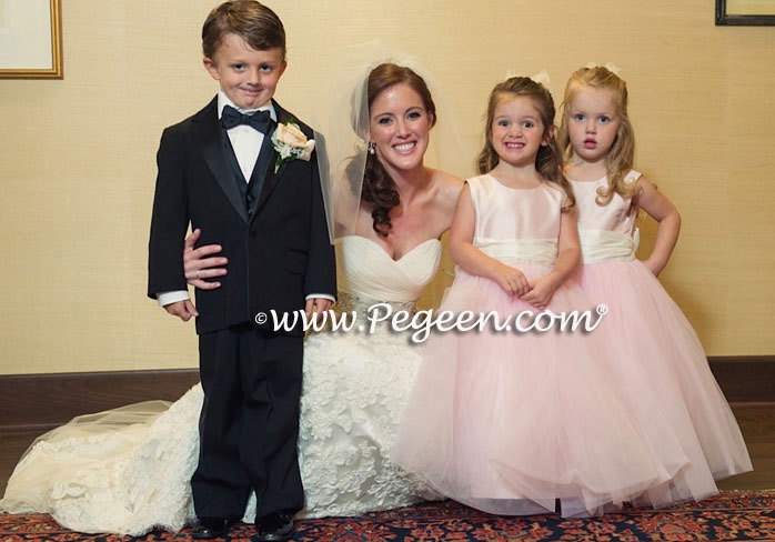 Featured Custom Tulle Flower Girl Dress in Peony Pink with Crystal Pink Tulle