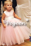Featured Custom Tulle Flower Girl Dress in Peony Pink Tulle