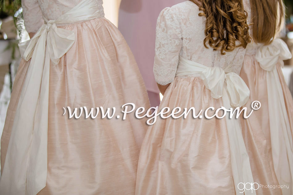 Flower Girl Dress in Baby Pink Silk with Aloncon Lace - Style 396