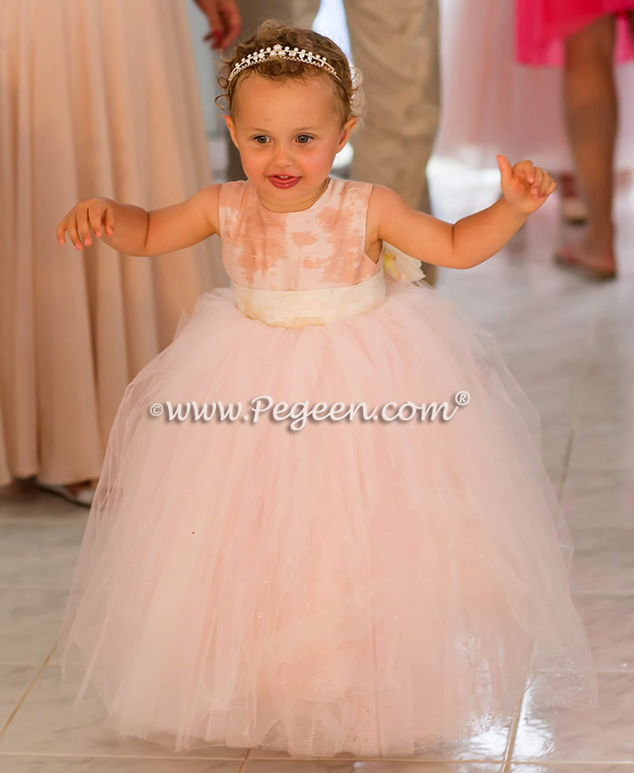 Flower Girl Dress in Ballet Pink and Bisque w/Signature Bustle