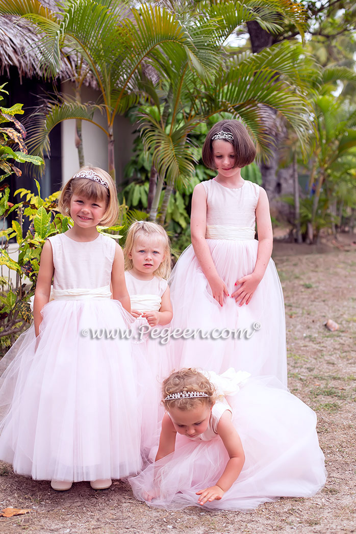Silk Flower Girl Dresses of the Month in Ballet Pink and Bisque