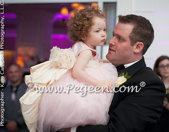 Pink Tulle Flower Girl Dress with Pegeen Signature Bustle