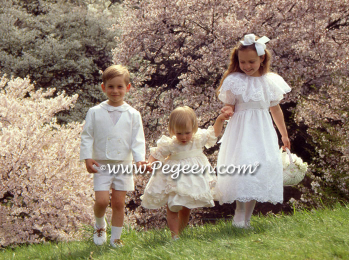 Boys ring bearer suit 275, middle, Victorian styleflower girl dress 397, white embroidered organza dress on Right - 389