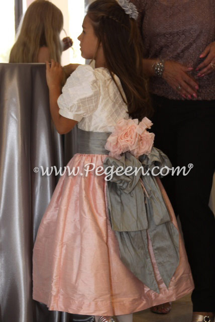 Ballet Pink and Morning Gray silk flower girl dress