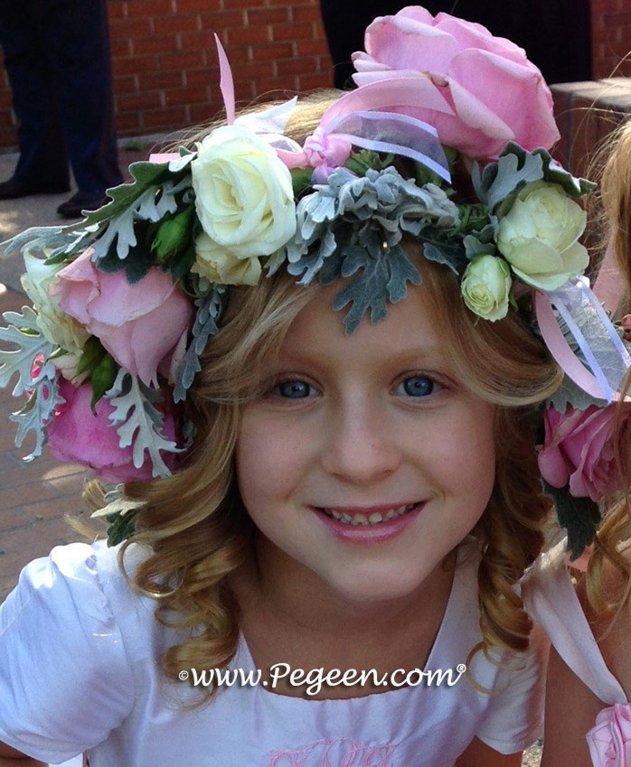 White and Peony Pink Silk - Our Morganite Fairy Flower Girl Dresses