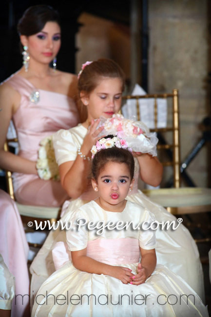 Custom Flower Girl Dresses Style 398 in Bisque and Petal Pink Silk