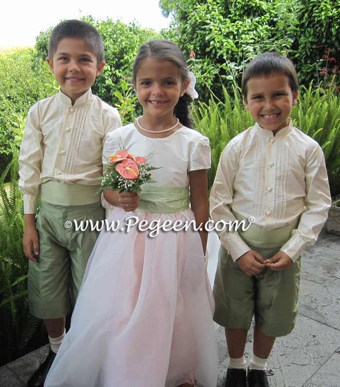 Flower Girl Dress in Cotton Candy Pink and Spring Green, Organza | Pegeen