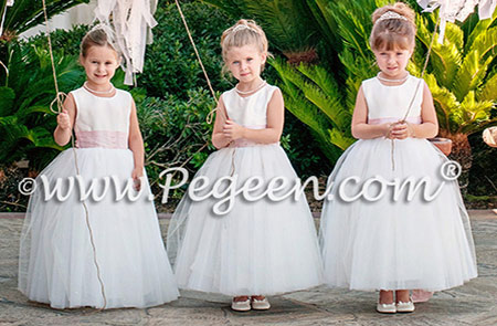 Peony Pink and New Ivory tulle flower girl dresses Couture Style 402