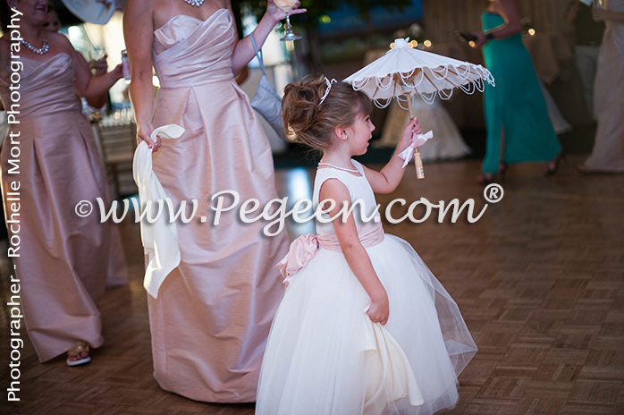 Flower Girl Dresses Style 402 in antique white and pink with a Cinderella sash