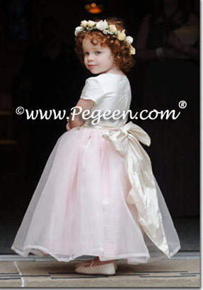 Toffee and pink silk designer flower girl dresses by Pegeen.com Style 359