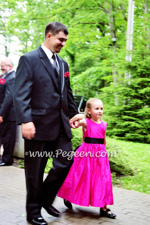HOT PINK (SHOCK) AND BLACK CUSTOM FLOWER GIRL DRESSES