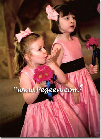 BUBBLEGUM PINK AND NAVY BLUE flower girl dresses