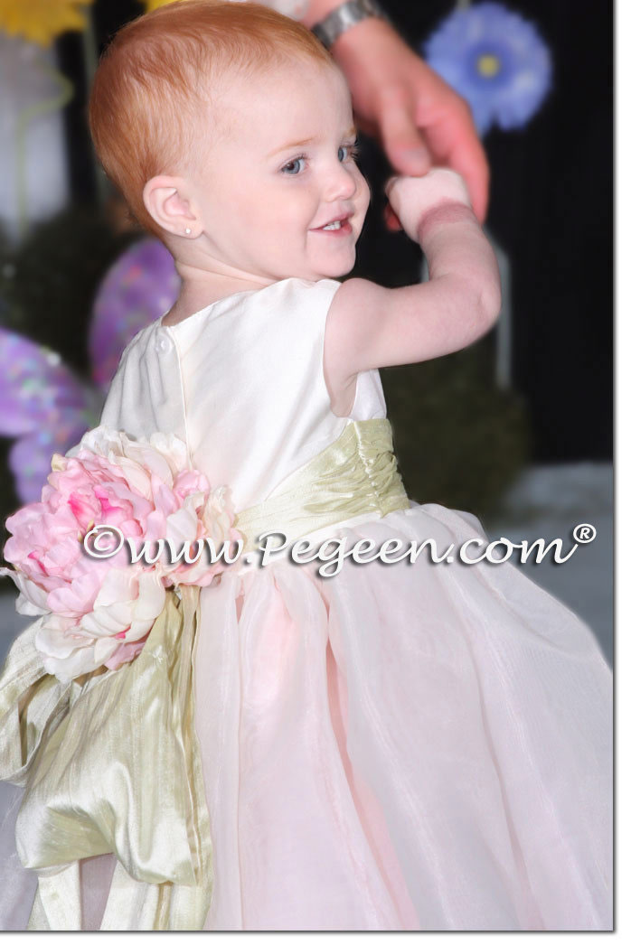 Pink and Antique White Infant Flower Girl Dress Pegeen Style 802