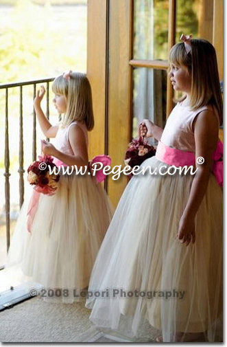 Flower Girl Dresses in Buttercreme and Strawberry Tulle | Pegeen