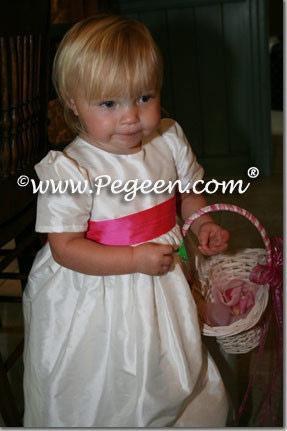 Shock hot pink and antique white silk flower girl dress