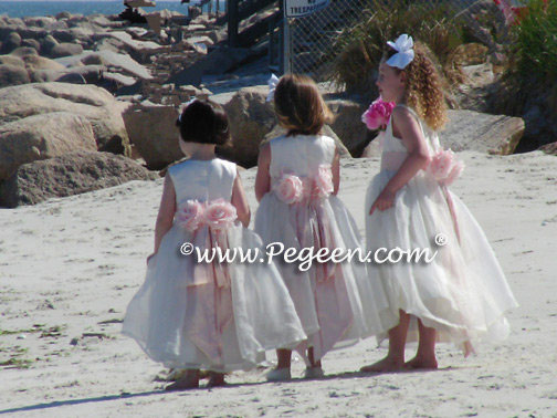 Custom Antique White and Peony Pink Silk Organza Flower Girl Dresses