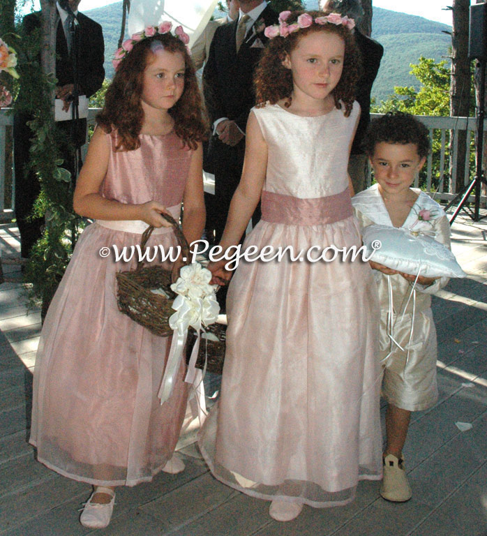 Blush and Rum Pink Silk Flower Girl Dress with Bustle and Back Flowers