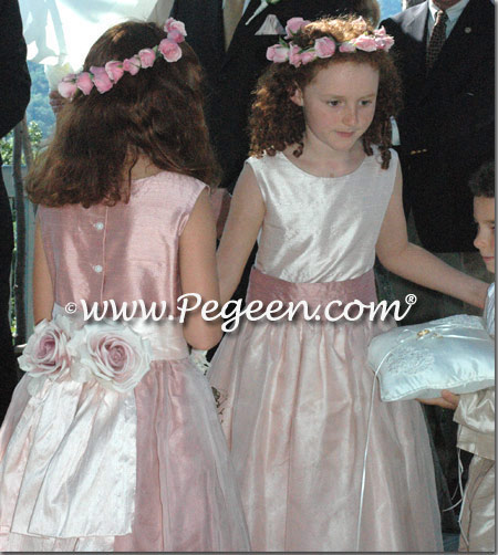 Rum Pink Silk and Organza Flower Girl Dresses