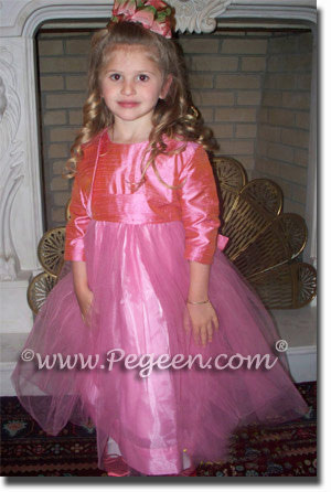 Watermelon Pink Silk and Tulle Flower girl dresses with bolero jacket |  Pegeen