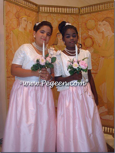 Pink and Blue Jr Bridesmaids Dresses