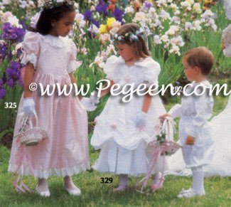Flower Girl Dresses from left to right - Style 725, Style 969 and Ring Bearer Suit Style