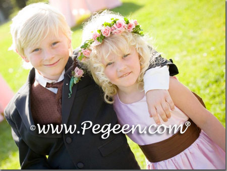 pink and chocolate silk flower girl dress