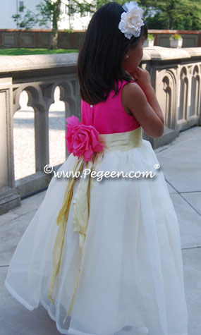 Ivory, Cerise (hot pink) and Lemonade (yellow) Flower Girl Dresses with Back Flowers