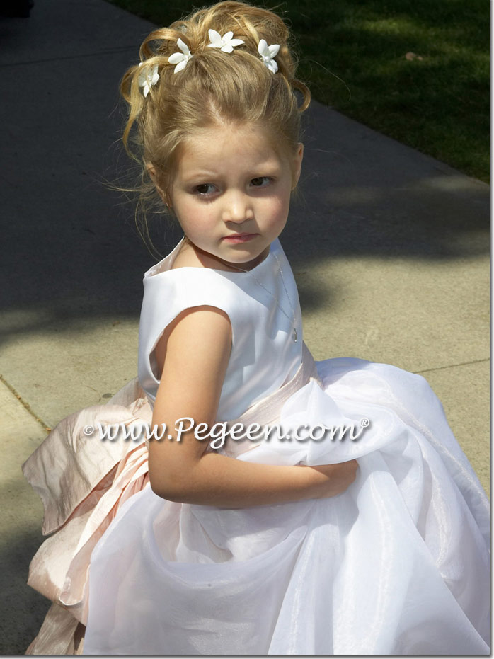 5eae7ed1ab White organza and blush pink silk flower girl dresses style