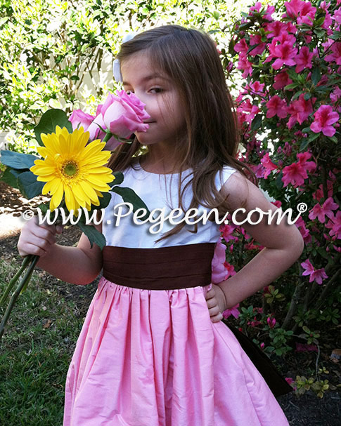 Hibiscus Pink Antique White and Chocolate FLOWER GIRL DRESSES with bustle and flowers