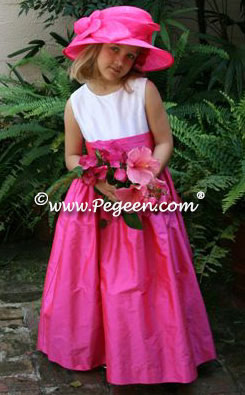 Hot Pink Silk Flower Girl Dress Pegeen Style 383