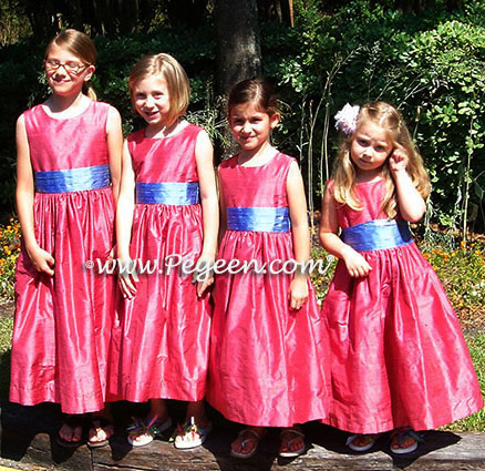 Gumdrop pink flower girl dresses with hydrangea blue sashes = Pegeen Classic Style 398